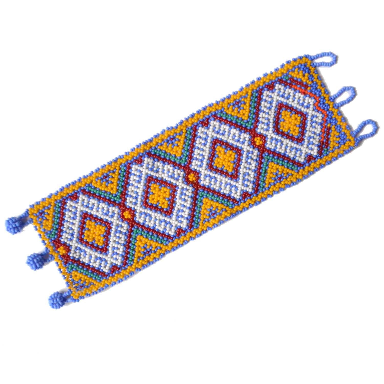 a2d6a4895389 Pulsera grande de chaquira multicolor - Artesanía Huichol